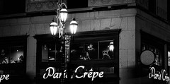Paris Life in Montreal (Szoki Adams) Tags: montreal monochrome pariscrepe illumination streetlamp window patrons building stone nightphotography night dark blackandwhite bw blackwhitephotos bright architecture canong7xmarkii candid canon discussion downtown enjoyment eating enjoying friends lights quiet reflection relaxed restaurant relaxation streetphotography streetphoto talking urban youngcouple