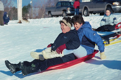 PEI - 2001 (196-02) (MacClure) Tags: canada pei princeedwardisland rollobay snow sledding family sheila patty