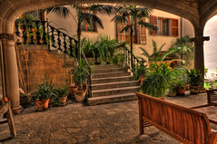 Courtyard (peterschneider608) Tags: hdrphotomatix hdr photomatix darktable travel reise spain spanien mallorca fornalutx orange court yard bench bank green grn building gebude plant pflanze staircase treppe outside drausen city stadt village dorf pentax k3 sigma 1020 europe europa baleares mediterranean architecture architektur voyage