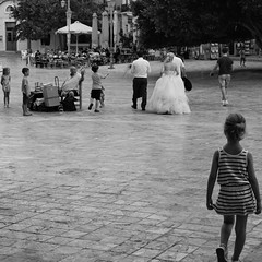 Following the footsteps (mi ne volimo šalu) Tags: blackandwhite street candid wedding weddinggown girl child kids people citylife outdoor nafplio greece monochrome cobblestone bubbles tree piazza 7dwf