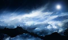 Moon Walk (Wladimir_J) Tags: moon sky clouds cloud stars star longexposure night reflections vsco reflection blue landscape landscapes fineart fine inspiration
