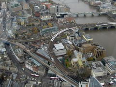 Borough Market and Southwark Cathedral from Shard - railtracks to Charing Cross and Cannon Street stations (streetr's_flickr) Tags: the shardoflondon highrise panorama tallbuildings structures architecture london city railwaytracks viaducts southwarkcathedral boroughmarket riverthames bridges