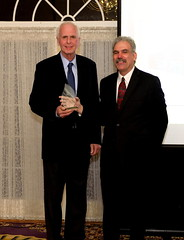 Senator Stewart Greenleaf (left) receives the Leonard Ferguson Youth Advocate Award