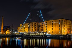 Stavros S Niarchos Ship, Liverpool Dock (Graham Peers) Tags: liverpool water reflection tall ship old building pump house dockland history long exposure nikon dslr tamron 2470mm full frame d600 manfratto nightscape city night photography albert dock maritime nighttime darkness