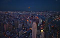 One World Trade Center Moon Shot (Karnevil) Tags: northamerica usa us newyork newyorkcity ny nyc manhattan lowermanhattan oneworldtradecenter 1worldtradecenter freedomtower onewtc 1wtc 285fultonstreet september112001 911 skyscrapper 1776ft brooklyn manhattanbridge steel brooklynbridge moon supermoon fullmoon waxinggibbous naturalsatellite dark night risingmoon zoomlens nikon d610 petekreps