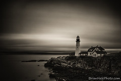 into the darkness (Brian M Hale) Tags: cape elizabeth portlandhead portland head light house lighthouse long exposure black white sepia warm clouds water ocean atlantic rocks architecture maine me newengland coast brian hale brianhalephoto