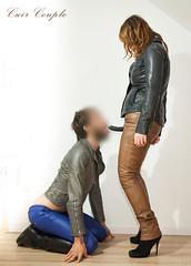 elle301 (Cuir Couple) Tags: cuir leder leather cuero veste jacket jupe skirt pantalon pant hosen mistress maitresse cuissardes matre master bondage bdsm cravache martinet strapon