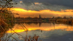 Science Park Sunset 2 (Skylark92) Tags: nederland netherlands holland amsterdam oost water lake meer science park sunset zonsondergang hdr autumn herfst east reflection train trein railroad track spoorbaan