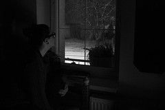 mood (misa.stahlova) Tags: mood blackwhite bw monochorme snow snowing window night sleepwalking dreaming dark white black portrait selfportrait grain light books diary thoughts