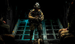 Jumping into the night in one minute (The Sergeant AGS (A city guy)) Tags: air airforce jumping people airforcecombatcontrolteam nitephotografy airplane exploration experiment contemplation soldier specialist