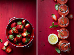 Strawberry-rhubarb-basil smoothie (bognarreni) Tags: red fruit spring juicy still lemon strawberry drink vibrant fresh smoothie rhubarb fruity refresher foodstylingfoodphotography