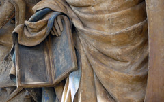 Detail of Moses' tablets: Claus Sluter, Well of Moses, 1395-1405