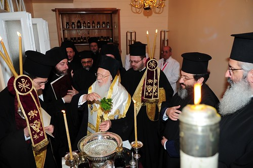 Constantinople: His All-Holiness blesses the beginning of the process of sanctification of the Holy Myron in a special office on 9th April 2012.