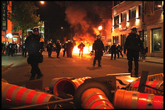 Montreal riot police at play