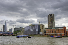 Alreet to Gloomy London, is the summer on its way yet? (yorkshire stacked) Tags: bridge london june thames architecture clouds river temple construction colours gloomy cloudy cranes shard hdr bankside oxotower blackfriarsbridge nippy photomatix kingsreachtower nikkor18105mm nikond7000 seacountainershouse