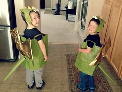 Fairytale day at school today and boys dressed up as paper sack dragons. Sponges for dragon spines and garbage bags for wings=fun project! (lalawilk) Tags: boys up fairytale paper day may dragons elias ethan sack dressed 2013