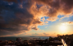 Queen Anne Nostalgia (Gabriel Tompkins) Tags: seattle blue sunset sky orange usa sun water clouds bay washington nikon warm day view cloudy queenanne horizon scenic pacificnorthwest vista nikkor washingtonstate viewpoint pnw emeraldcity cloudscape 18105 d90 18105mm nikond90 18105mmf3556gvr tronam gabrieltompkins