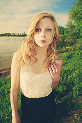 Summer Time Loving (Kara Allyson) Tags: summer woman sexy college beach girl beautiful sunshine wisconsin golden sand afternoon skin retro madison blonde sunkissed alyssamyers