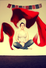 86/365 (zsuzsmo) Tags: red portrait girl scarf self canon project eos rebel meditate buddha prayer levitation flags calm silence 365 1855mm spiritual chill project365 550d 86365 t2i canon550d