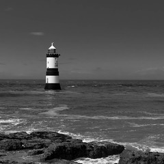 Trwyn Du Lighthouse, Nr. Penmon, Anglesey, Wales, United Kingdom (Nathan Reading) Tags: sea blackandwhite lighthouse seaside olympus lightroom penmon trwyndu epl3