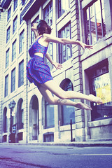 Ballerina (andreannelupien) Tags: street blue red girl beautiful up birds tattoo fly flying necklace jump ballerina dress teal levitation concept conceptual dye position bluedress tealhair
