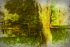 Golden Pond (hollykl (still behind)) Tags: trees abstract photomanipulation golden pond digitalart hypothetical vividimagination wardpark artdigital arteffects greenscene sharingart awardtree netartii