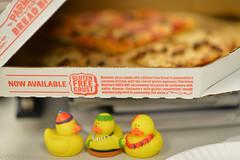 Gluten Free is not really gluten free! (WindUpDucks) Tags: marketing duck free ducks rubber dominos pizza domino gimmick gluten