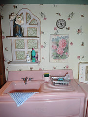 I created the window frame shelf and made the poster myself. Love this shabby chic look. (JunqueChicDoll) Tags: pink kitchen vintage miniatures sink handmade diorama tico playscale