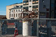 A Bad Hair Day! (Jocey K) Tags: street city newzealand christchurch sky building art architecture fence wire rust shadows cbd earthquakedamage