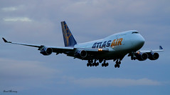 Atlas Air 747-400 N458MC (birrlad) Tags: sunset airplane evening airport aircraft aviation airplanes transport cargo landing shannon airline atlas boeing arrival airways approach airlines runway 747 airliner jumbo freighter snn