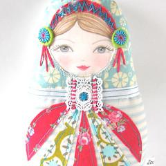 Matryoshka Doll Lara (Zouzou Design) Tags: red aqua softie babushka matryoshka clothdoll stackingdoll russiannestingdoll cutedoll fabricdoll