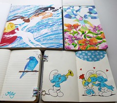 My Journals Collection (Milagritos9) Tags: blue patterns visualjournal redroses smurfette birdportrait artistjournal birddrawing visualdiary thesmurfs birdillustration illustratedjournal lospitufos moleskinejournals flowerspainting poppiespainting artmoleskine goldfishillustration journalscollection moleskinecomics birdjournal inspirationaljournal hummingbirdportrait pájaroillustración klimtsinterpretation klimtillustration spiritualjournal moleskineartpages floresilustración moleskinehandmade moleskinepaintings moleskinewatercoloursnotebook moleskine2013 milagritosflores moleskinecartoons colibrípintura