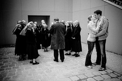 nun of this is real (gguillaumee) Tags: street paris france classic love contrast kiss funny couple candid religion surreal nuns lovers notredame