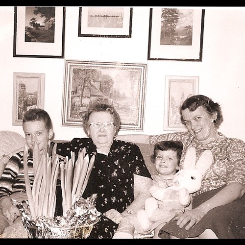 Easter 1959: Paul Jr., Aunt Lois, Mom, Grandma #tbt