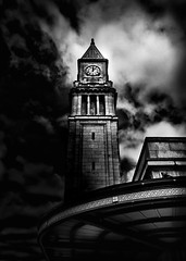 Clock Tower No 10 Scrivener Square Toronto Canada (thelearningcurvedotca) Tags: street old city light sky urban blackandwhite toronto ontario canada abstract building brick tower history texture clock geometric window monument monochrome lines vertical stone wall architecture clouds outdoors design blackwhite construction downtown pattern arch exterior place symbol time background famous gothic columns perspective landmark canadian structure historic clocktower round historical environment concept curve shape iamcanadian bwemotions torontoist linescurves blackwhitephotos bej true2bw cans2s flickr10 blackandwhiteonly wwwareamagazinecom bwartaward scrivenersquare yourphototips briancarson blogtophoto thelearningcurvephotography wwwthelearningcurveca
