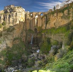 View of Tajo Canyon Puente Nuevo and Ronda (omairkha) Tags: bridge rio river spain canyon andalucia espana ronda gorge puentenuevo tajocanyon guadalevn