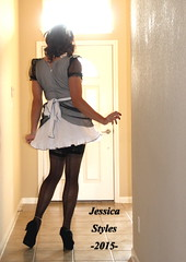 JessicaFrillyMaid (jessicastvyles) Tags: stockings sissy transvestite heels maid bows petticoat frilly backseam