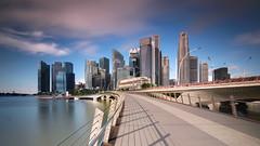 Passive Resistance (bing dun (nitewalk)) Tags: morning bridge marina sunrise bay singapore long exposure jubilee esplanade cbd fullerton merlion sg50