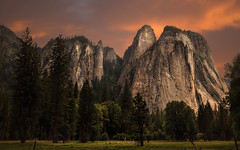 Cathedral Spires, Yosemite National Park - Explored (PrevailingConditions) Tags: california ca trees sunset mountains rocks cathedral spires yosemite yosemitenationalpark cathedralspires