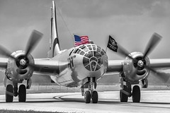 Just a bit of color. (Blind Man Shooting) Tags: fifi b29 selectivecolor flag america aviation