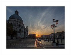Santa Maria della Salute and the Grand Canal (Explore 09/10/16 #45) (andyrousephotography) Tags: venice italy santamariadellasalute basilica minor church romancatholic architecture grandcanal lamps lampposts boats sunset evening dusk orange blue andyrouse canon eos 5d mkiii