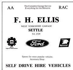 1979 ADVERT F H ELLIS FORD DEALERS / NATIONAL PETROL SALES SETTLE YORKSHIRE (Midlands Vehicle Photographer.) Tags: 1979 advert f h ellis ford dealers national petrol sales settle yorkshire