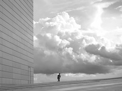 On the wrong planet...? (annechr) Tags: sh bw oslo operabuilding clouds