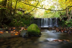 Autumn Waterfall (Ben Lockett) Tags: 1740l 7d canon season changing valley riverbed greenery forest woodland trees branches stones greenwaybank knypersely falls trent stream beautiful leaves river autumn waterfall