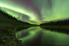 Aurora and Hay River (adamhillstudios) Tags: auroraborealis aurora north northwestterritories canada nightskies night hayriver river nwt adventure outdoors travel