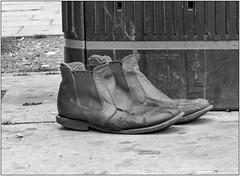 These Boots... (Mabacam) Tags: 2016 london whitechapel bin boots footwear bw blackandwhite monochrome street shoes
