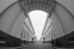 Discovery of Galley Street -    (Valery Parshin) Tags: russia stpetersburg arch architecture ingermanland saintpetersburg 8mm fisheye samyang valeryparshin blackandwhite