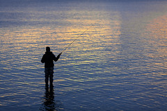 Fisherman (Antti Tassberg) Tags: 135mm autumn bokeh evening fall fisher fisherman ilta kahlata kalastaja lens meri people prime reflection sea silhouette syksy twilight wade helsinki uusimaa finland