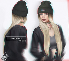 Out Now! Teddy Bear Hair & Beanie UPDATE @ Shiny Shabby (liza.broono) Tags: sl second life foxy original mesh fall autumn beanie hat knit long hair shiny shabby event teddy bear catwa rebel gal suede wrap choker
