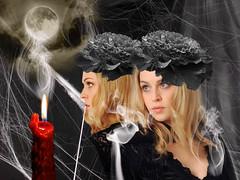 Portrait in Black (ihave3kids) Tags: deviantart photoshop photomanipulation photoshopcontest photoshopcompetition digitalart smoke fullmoon candle cobwebs ladyinblack hairornament